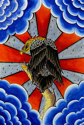 Design Pics Painting - Traditional Tattoo Eagle  by Larry Mora