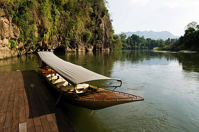 Yak Photograph - Traditional Thai Long Boat Docked by Thomas Pickard