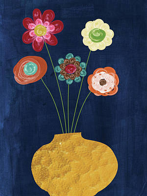 Mixed Media Still Life Painting - Traditional Whimsy Bouquet by Alli Rogosich
