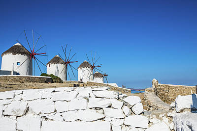 Photograph - Traditional Windmills Of Mykonos by Deimagine
