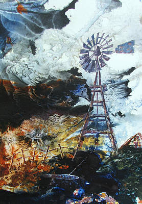 Abstract Windmill Painting - Traditional Windpower by Ken McBride