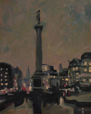 Nocturne Painting - Trafalar Square At Dusk by Nop Briex