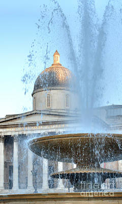 Photograph - Trafalgar Fountain And National Gallery Dome by Deborah Smolinske