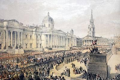 Royal Wedding Drawing - Trafalgar Square, From A Memorial by English School