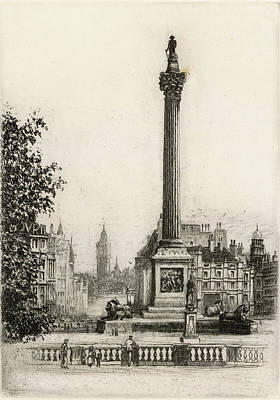 Big Ben Drawing - Trafalgar Square, With Big Ben by Mary Evans Picture Library