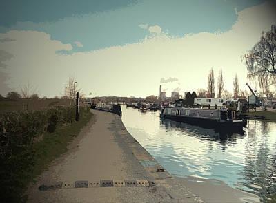 Traffic At Sawley Marina, A Narrow Boat Cruising Art Print by Litz Collection