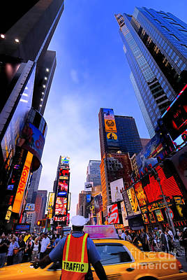 Traffic Cop In Times Square New York City Art Print