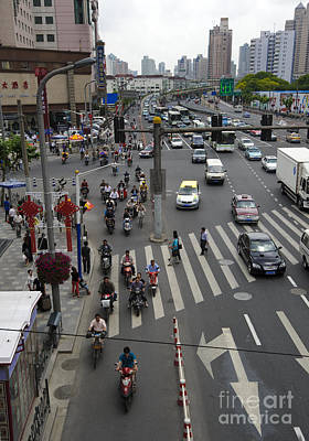 Crosswalk Photograph - Traffic In Shanghai by John Shaw