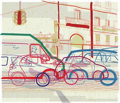 People Digital Art - Traffic Jam On Urban Street by Guido Rosa