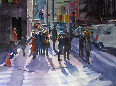Crowd Scene Painting - Traffic Light by Kris Parins
