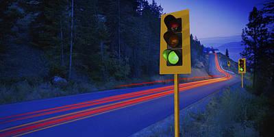 Traffic Lights On A Highway Art Print by Don Hammond