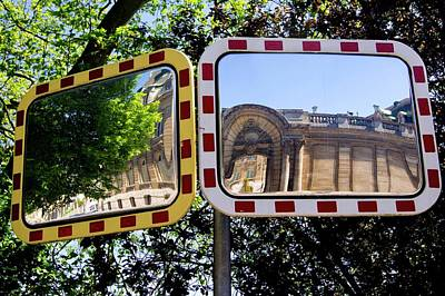 Traffic Mirrors In Luxembourg Art Print