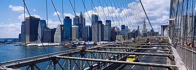 Traffic On A Bridge, Brooklyn Bridge Art Print by Panoramic Images
