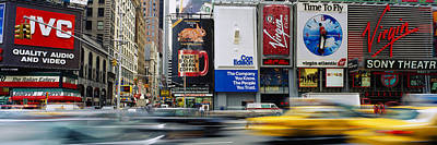 Crosswalks Photograph - Traffic On A Street, Times Square by Panoramic Images