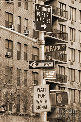 Stop Sign Photograph - Traffic Signs In Manhattan Vintage Look by RicardMN Photography