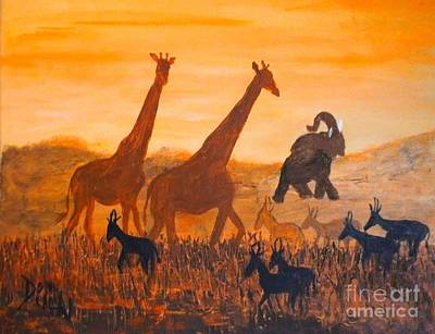 Art Print featuring the painting Traffick On Serengeti by Donna Dixon