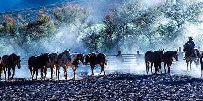 Cowboys Photograph - Trail Horses by John Covin