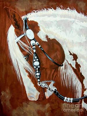 Mustang Drawing - Trail Ready Paint Horse by Lucka SR