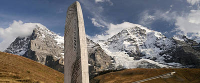 Eiger Photograph - Trail Sign With Mt Eiger And Mt Monch by Panoramic Images