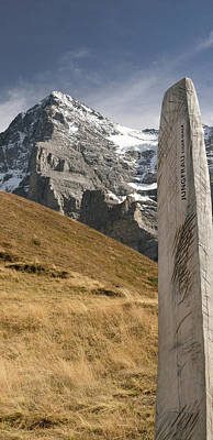 Eiger Photograph - Trail Sign With Mt Eiger by Panoramic Images
