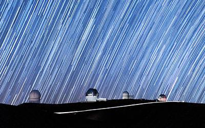Photograph - Trails Of Light Above Mauna Kea Observatory by Jason Chu