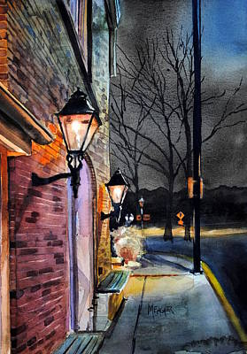 Night Lamp Painting - Trailshead Brewery St Charles Missouri by Spencer Meagher