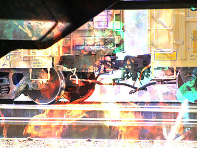 Digital Art - Train Abstract Blend 2 by Anita Burgermeister
