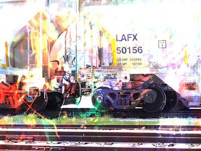 Digital Art - Train Abstract Blend 6 by Anita Burgermeister