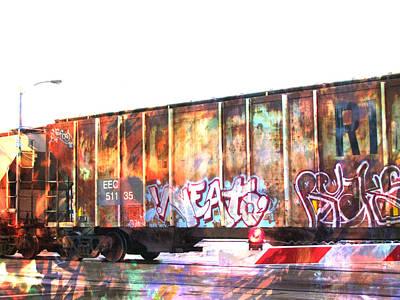 Digital Art - Train Abstract Blend 7 by Anita Burgermeister