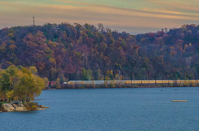 Photograph - Train Along The Susquehanna River In Columbia Pennyslvania by Beth Sawickie