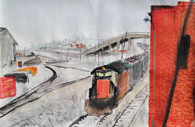 Painting - Train And Brick Wall With San Francisco Skyline by Asha Carolyn Young