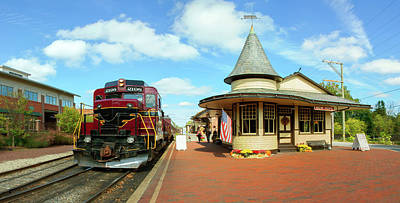 Railroad Stations Photograph - Train At Railway Station, New Hope by Panoramic Images