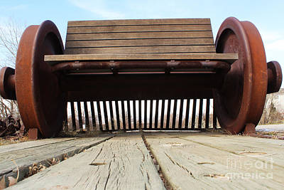 Photograph - Train Bench On Planks by Steven Parker