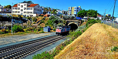 Photograph - Train Coming Out Of A Tunnel In San Francisco Altered by Jim Fitzpatrick