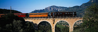 Mallorca Photograph - Train Crossing A Bridge, Sierra De by Panoramic Images