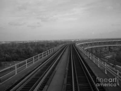 Rickety Bridge Photograph - Train Crossing Bw by Joseph Baril