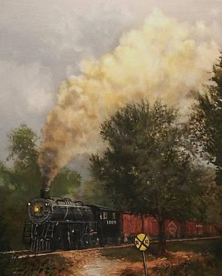 Railroad Crossing Painting - Train Crossing Soo Line 1003 by Tom Shropshire
