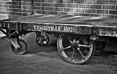 Photograph - Train Depot Baggage Cart 2td1 In B/w by Greg Jackson