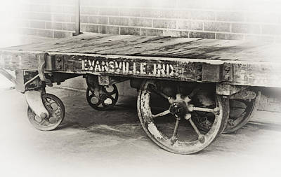 Photograph - Train Depot Baggage Cart In High Key B/w by Greg Jackson