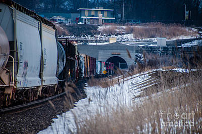 Photograph - Train Going Into The Paul M. Tellier Tunnel Usa Side by Ronald Grogan