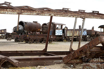 Photograph - Train Graveyard  Uyuni Bolivia 5 by Bob Christopher
