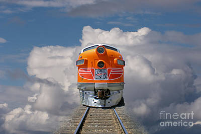 Train In Clouds Print by Ron Sanford