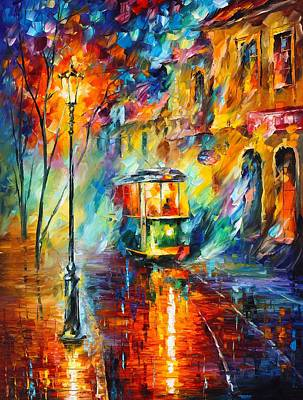 Abstract Realism Painting - Train In Color by Leonid Afremov