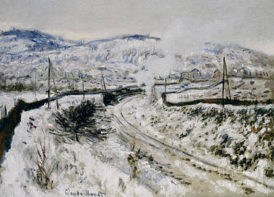 Train In The Snow At Argenteuil Art Print by Claude Monet