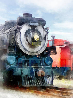 Caboose Photograph - Train - Locomotive And Caboose by Susan Savad