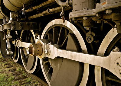 Photograph - Train Locomotive Wheels In Sepia by Kirsten Giving