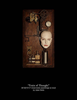 3 Dimensional Assemblage Mixed Media - Train Of Thought by Adam Watts