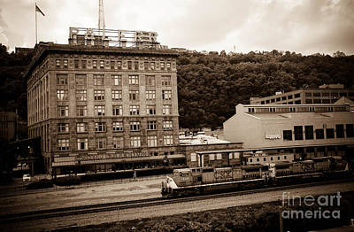 Train Passes Station Square Pittsburgh Antique Look Art Print
