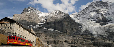 Eiger Photograph - Train Passing Through Eigergletscher by Panoramic Images