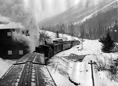 Train Tracks Photograph - Train Ride Through The Snow by Retro Images Archive